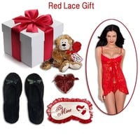 "Gift Set - Women's ""Red Lace"" Babydoll Gift (Small-XL)"