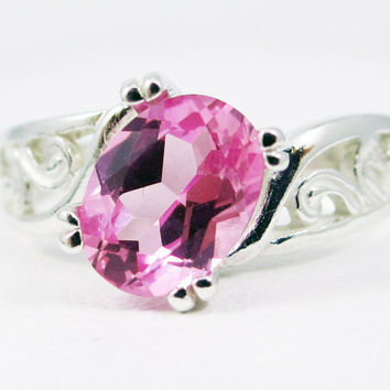 Pink Sapphire Oval Filigree Ring Sterling Silver, September Birthstone Ring, Pink Sapphire Ring, Sterling Silver Filigree Ring