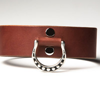Leather Bondage Collar - Chestnut Brown Latigo - Steel Lead Ring -  Spotted Shadow Motif