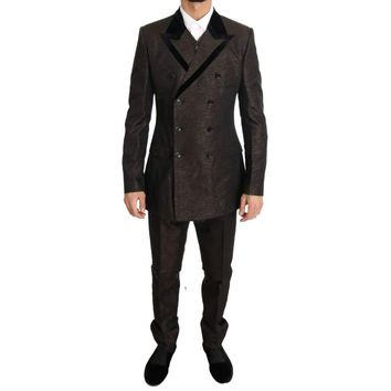 Dolce & Gabbana Brown Double Breasted Slim Fit Suit