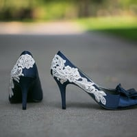 Wedding Shoes  Navy Blue Wedding Shoes/Bridal Shoes by walkinonair