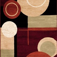 2010 Black Geometric Contemporary Area Rugs