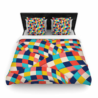 """Danny Ivan """"Curved Squares"""" Multicolor  Woven Duvet Cover"""