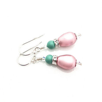 Pink Pearl Earrings, Vegan Wedding, Mint Green Bridesmaid, Pearl Bridal Earring, Pink and Mint, Swarovski Pearl, Pastel Earrings, Pear Shape
