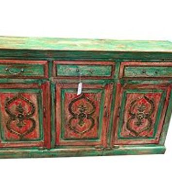 Antique Indian Sideboard Dresser Buffet Red Green Patina Shabby Chic | Mogul Interior