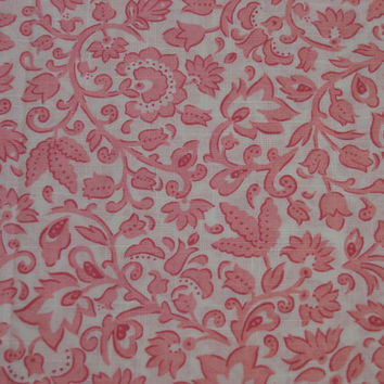 Vibrant Pink Swirl Flowers Vintage Fabric - 2 YARDS, 1 INCH