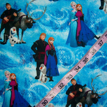 Frozen Quilt fabric for kids Anna and Elsa Kristoff Olaf movie quilting sewing material 1yd by the yard