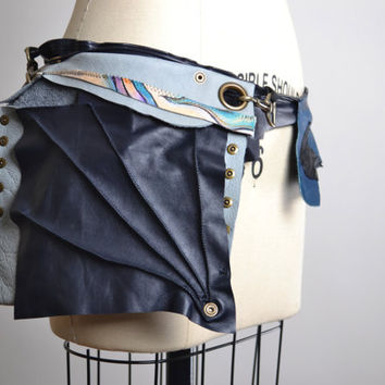 Up-cycled Leather Belt Bag - Leather Hip Bag Belt - Leather Festival Belt - Festival Accessories - Funky