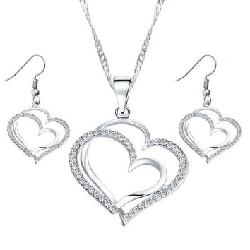 Romantic Heart Pattern Crystal Earrings Necklace Set