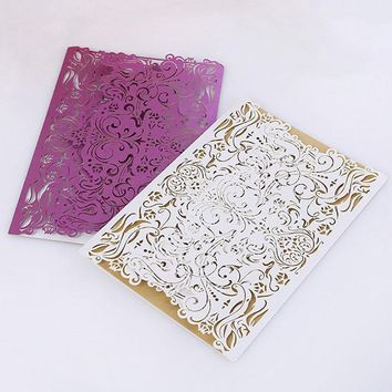 20pc/lot Wedding Invitation Card Laser Cutting Elegant Lace Invitation Envelope Paper White Purple For Wedding Birthday Event