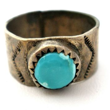 Vintage Sterling Silver Ring With Turquoise