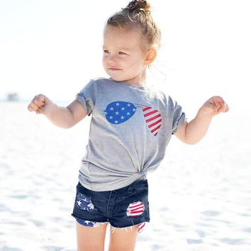 Flag Sunglasses Outfit Denim Gray Top And Shorts