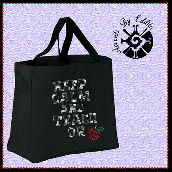 Rhinestone Tote Bag (your choice of color) Keep Calm and Teach On with Cute Apple Great for Teacher or Teachers Gift