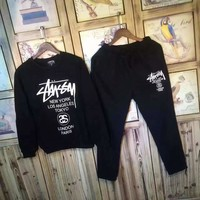 Women Fashion Stussy Print Top Sweater Pants Sweatpants Set Two Piece
