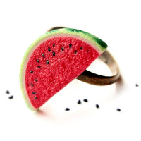 Watermelon Ring  Food Jewelry by dollfoodminiatures on Etsy