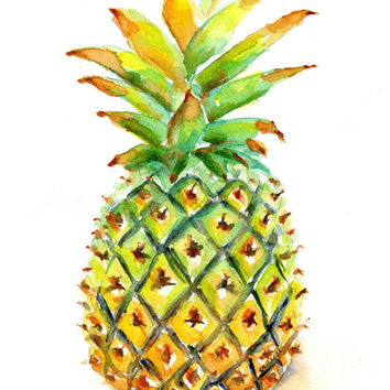 "Pineapple Watercolor Painting, ORIGINAL Watercolor, 8x10"", Welcome fruit, kitchen art, Food art, whole, Hawaiian, Exotic, Tropical"