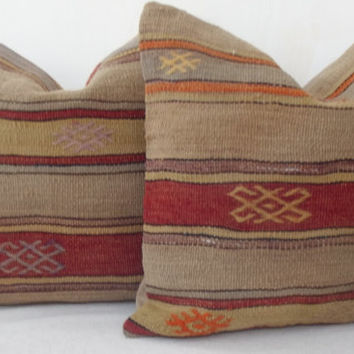 Traditional Anatolian Handwoven Kilim Pillow Cover, Cherry Red Pastel Olive Brown Blue Striped  Kilim Pillow Cover 40 x 40 Throw Pillow