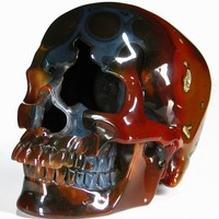 "Huge 5.0"" Carnelian Carved Crystal Skull, Super Realistic, Hollow"