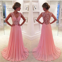 Coral Pink Lace Prom Dresses 2016 Long Formal Eveniong Gowns Chiffon Dress For Graduation Vestido de Baile Vestido de Formatura