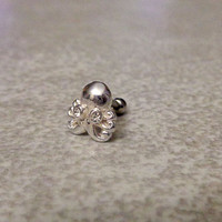Cartilage ring, Silver Octopus with surgical steel Barbell 16G, Helix ring, Ear lob, Tragus Ring, 16 Gauge 1.2 mm