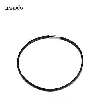 "Meaeguet 10PCS New Black Braided Leather Cord Rope Greek  Necklace Chain Stainless Steel Clasp, 3mm, 4mm.5mm 18"", 20"", 22""inch"