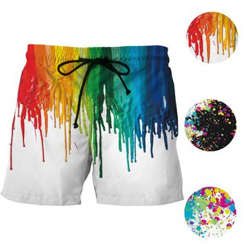 Colorful Ink Splash Painting Board Shorts Mens Mesh Short Pants Graffiti Print Beach Shorts Harajuku Gym Sport Shorts Plus Size