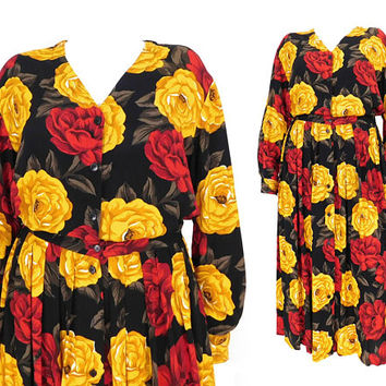 Vintage 90s Floral Print Dress - Sz 12 Women's Jones New York 2 Piece Full Pleated Skirt Long Sleeve Blouse Set -Black Red Yellow Rose Print