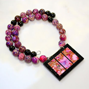 Summer in the City Necklace Pink Jasper Fused Modern Pendant Art Deco by Mei Faith