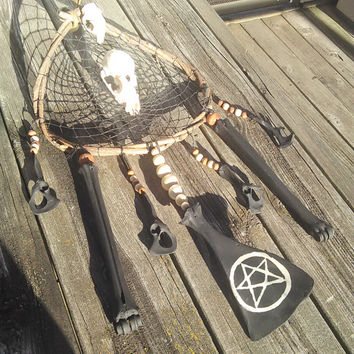Bone Dream Catcher, Black Pentagram Dreamcatcher, Boho Tribal Home Decor, Taxidermy oddities, Raccoon Squirrel Skull, Real Deer Animal Bones