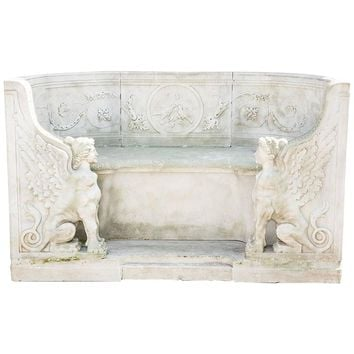 19th Century Neoclassical Marble Park Bench in Carrara Marble