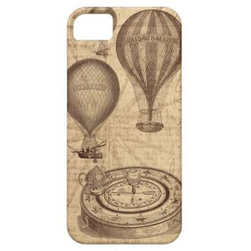Vintage steampunk hot air balloons iPhone 5 cases