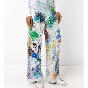 ASHISH   Distressed Sequin-Embellished Jeans   brownsfashion.com   The Finest Edit of Luxury Fashion   Clothes, Shoes, Bags and Accessories for Men & Women