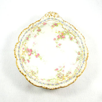 Jean Pouyat Limoges Porcelain Handled Dish with Roses and Gold Trim