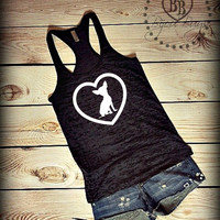 Chihuahua Love - Design on Racerback Burnout Tank Top- Sizes S-XL. Other Colors Available