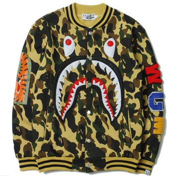 VXL8HQ BAPE SHARK Women/Men Fashion Long Sleeve Camouflage  Sweater Sweatshirt Coat