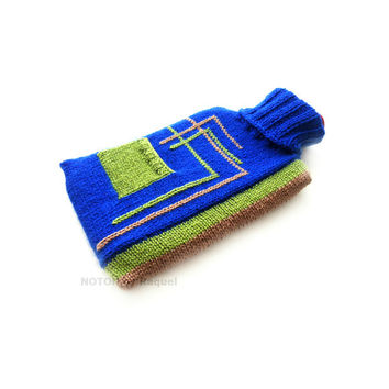 Blue and Green Knit Hot-water Bottle Cover
