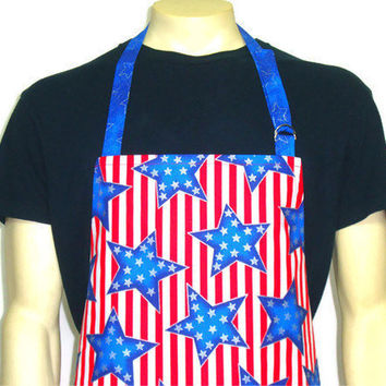 Patriotic Kitchen Apron, American Flag, Red White and Blue, Stars and Stripes, Full Chef Style