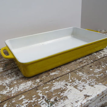 VintageYellow Enamel and Cast Iron Pan Rectangular Lasagna Pan Copco Descoware Le Creuset Style