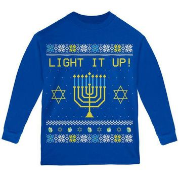 ONETOW Hanukkah Light It Up Ugly Christmas Sweater Youth Long Sleeve T Shirt