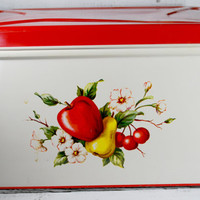 Metal Bread Box , Kitsch Kitchen Decor , Red Tin Box
