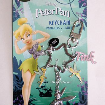 Licensed cool NEW Disney Store TINKER BELL Fairies Butterfly Charm Metal Keychain Key Chain