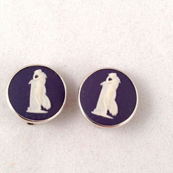Wedgwood Blue Adromache Jasperware Cameo Vintage Sterling Silver clip on earrings - fully hallmarked - Made in England - josiah wedgwood