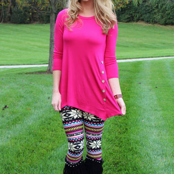 Make it A Great Day Button Hot Pink Top