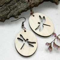 Dragonfly wood earrings Insect jewelry