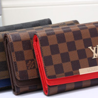 LV fashion leather spell color long wallet[380439691300]