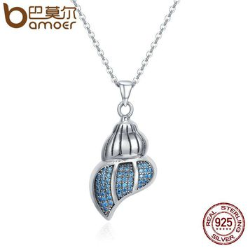 BAMOER Real 100% 925 Sterling Silver Fancy Sea Snail Shell Conch Clear CZ Pendant Necklace Women Sterling Silver Jewelry SCN167