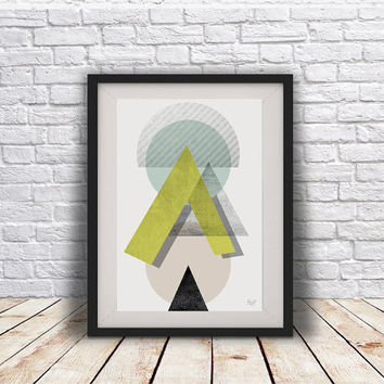 PRINT of Abstract art Triangles poster Geometric art poster Minimal Modern Scandinavian Nordic Style Abstract poster print