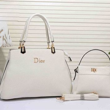 Dior Fashion Women's Leather Handbag Tote Satchel Shoulder Bag Two piece Set H-YJBD-2H