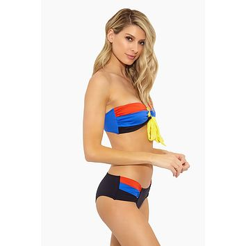 Farah Color Block Mid Rise Bikini Bottom - Orange/Black/Vibrant Blue
