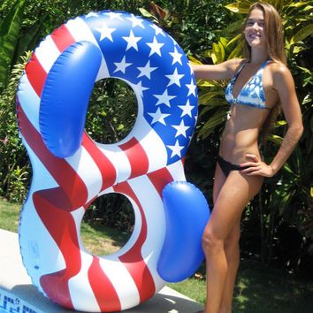 182 cm Giant American Flag Women Double Swimming Ring Adult Inflatable Pool Float Water Party Toys Air Mattress Lounger Boia